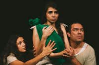 "From left to right: Frida Espinosa Muller, Ana Gonzalez, Rodney Garza in ""The Dreamers: A Bloodline,"" presented by Cara Mia Theatre."