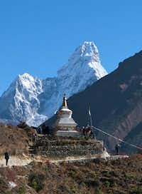 A chorten echoes the stunning shape of Ama Dablam, considered by many to be the most beautiful peak in the Himalayas.John Flinn