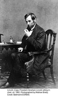 1862 --- President Abraham Lincoln Sitting in Chair