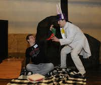 Jesters rehearsed a scene from Movin' On: A Family Tale of Squirrels, Police, and Magic.