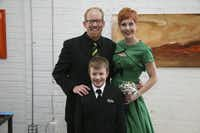 Brad &; Natalie Jackson on their wedding day with son Caleb.