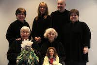 Back, from left: Sally Fiorello, Becky Burks Keenan, Douglass Burks, Patricia Long. Front, from left: Kathy Burks with Rumpelstiltskin puppet, B. Wolf with Liesl puppet