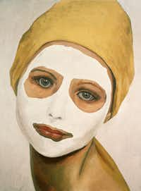 Mask, 1995, oil on canvas, owned by dealer John Runyon of Runyon Fine Arts. Runyon was the first to bring Phillips' work to Dallas.