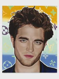 """Robert Pattinson, 2010, oil on linen. The Louis Vuitton step-and-repeat in the background """"was to suggest a fictitious brand endorsement context,"""" Phillips told Vanity Fair. Phillips' gigantic celebrity paintings make for strong commentary on idolatry."""