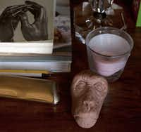 """APE SHIFT: On a bedside table, Swenson's clay maquette for a potential work. """"He really 'sketches' in 3-D,"""" Worley says, versus drawing ideas. """"It relaxes him."""""""