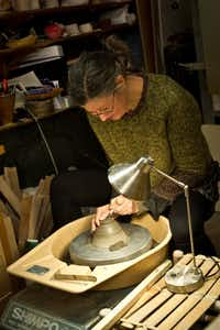 Paris potter Sylvie Pidancet-Bouquet at work in her studio