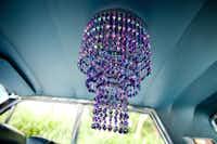 Badu's purple crystal chandelier was inspired by a friend.