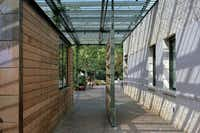 A walkway at the Dallas Arboretum's Trammell Crow Visitor Education Pavilion completed in 2003