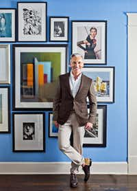 Tim Flannery dresses the walls of his Oak Cliff study with original fashion photographs by Tom Munro, Bruce Weber, Arthur Elgort and Sheila Metzner; Victor Schrager still lifes; and original comic book illustrations from Darwyn Cooke's DC: The New Frontier.