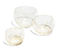 Anna Torfs hand-blown crystal and gold cups, $78 to $102, Grange Hall