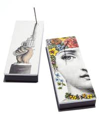 "Fornasetti ""Pistola"" and ""Flora"" incense sets, $245 each, Grange Hall"