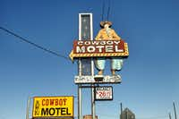 Cowboy Motel sign on Route 66 in Amarillo.  Photographed  on May 3, 2012.
