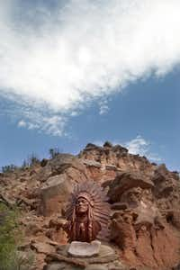 A bronze bust of Comanche Chief Quanah Parker by Jack King Hill in Palo Duro Canyon, the second largest canyon in the United States, thirty miles south of Amarillo. Photographed  on May 3, 2012.