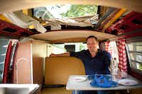 The roof of chef Tim Byres' 1969 Microbus pops up to form a mini-loft.