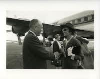 Stanley Marcus greeted Coco Chanel at Dallas Love Field Airport on Sept. 6, 1957.