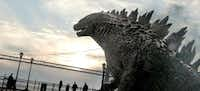 """A scene from """"Godzilla."""" The remake of Godzilla, opening Friday, is a cautionary tale in a vein similar to the original 1954 movie.Warner Bros. Pictures"""