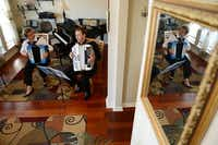 Elena and Gregory Fainshtein play the accordion in their Plano home.Rose Baca  - neighborsgo staff photographer