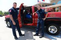 The bright red truck is used by McKinney firefighter/paramedics Chris Roberts (left) and Brian Roether to make 9-1-1 house calls as part of a pilot program launched last month to reduce the number of calls that require dispatching multiple emergency vehicles. The pair have already visited ten homes of patients.