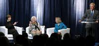 Laura Bush and Barbara Bush pointed at each other when former President George W. Bush said he was about to introduce his favorite first lady for a panel conversation with historian Doris Kearns Goodwin at SMU. Bush then asked his mother if she would mind if it was a tie.