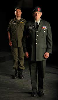 Col. Jim  Thompson is portrayed by David Blalock (younger Thompson, left) and Michael Mayes (older Thompson).