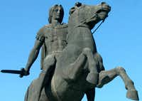 A statue of the Alexander the Great stands in the northern Greek port city of Thessaloniki, on Friday, Nov. 26, 2004.