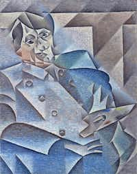 "Juan Gris,  Portrait of Pablo Picasso,  January-February 1912, oil on canvas.  The Art Institute of Chicago.  Gift of Leigh B. Block   At the Kimbell Art Museum's ""The Age of Picasso and Matisse: Modern Masters from the Art Institute of Chicago"" exhibit."