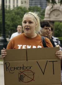 Student Jill Dunsford joined a 2009 rally against guns on the University of Texas campus.