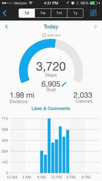 The Garmin Vivofit sets a goal for how many steps to take during a day based on what you did the previous day.