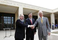 From left: Alan C. Lowe, director of the George W. Bush Presidential Library and Museum; R. Gerald Turner, president of SMU; and Mark Langdale, president of the George W. Bush Foundation, celebrated the opening of the Bush library on campus last week.