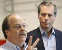 Donald Hooton (left), whose son Taylor was a high school baseball player who took his own life after suffering depression caused by anabolic steroids, speaks during a news conference Thursday, Oct. 19, 2006, in Austin.