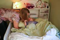 Penny Howard wakes Harper up for a quiet day at home. Harper does a variety of therapy for her CDKL5, including Hippotherapy and water therapy.