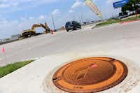 A vehicle travels along the northbound Interstate 635 service road between Centerville Road and Northwest Highway in Garland. The recently completed road, funded by Texas Department of Transportation, is expected to allow for greater safety, mobility and easier access to adjacent properties.Photos by ROSE BACA - neighborsgo staff photographer