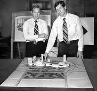 Ray Hunt (left) and John Scovell showed a mock-up of their planned hotel complex in 1973. Ground would be broken five years later on the $210 million development.