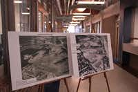 Photos of Samuell Grand Park in 1948 and 1963 stand in the lobby of Samuell-Grand recreation center.