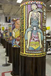 "Faile, wheels in the artist's studio, 2013. Courtesy of the artist and Dallas Contemporary.  ""FAILE"" is being assembled by Booklyn, N.Y.-based artists Patrick McNeil and Patrick Miller, whose multimedia installations, large-scale paintings and sculptures have helped  change the perception of the Street Art genre."
