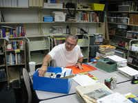 Joe Kruzich, 74, has volunteered at The Colony Public Library for the past 13 years sorting and labeling new and donated books. He was the library's James W. Althaus Volunteer of the Year in 2003.