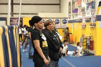 Michele Epps (middle) watches tryouts for competitive cheer teams at Twister Spirit Athletics' gym in Cedar Hill. Epps has been involved in competitive cheer as a coach since the late 1980s and founded Twister Spirit Athletics, originally called Texas Twisters, in 2004.Staff photo by CHRIS DERRETT - neighborsgo