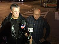 Mayor Mike Rawlings walked around Oak Lawn with Council member Adam Medrano Friday night after a series of attacks in the area. (Tristan Hallman/Staff writer)