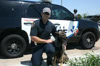 Officer Rhett Mathews and Spyke, his K-9 partner at the Coppell Police Department, have been partners for eight years.Staff photo by MEREDITH SHAMBURGER - neighborsgo