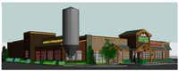 A Twin Peaks rendering shows the 27-foot tall barley silo and attached brewery that will be built on the west side of the north Irving location. Construction on the brewery should be complete in October.