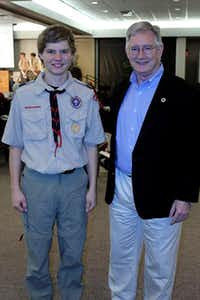 Brandon Walters of Boy Scout Troop 100 stands with Garland Mayor Douglas Athas at the Court of Honor in March. Brandon, 16, started a flag team to help retire and honor the American flag.Photos submitted by STEVE WALKER