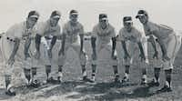 In the 1963 Samuell High School yearbook, the Spartans baseball team pitchers included sophomore Johnny Johnson (left), who also was a star in football, basketball and track. Teammates were Albert Cartledge, James Wright, Danny Elsworth, Albert Monico and Glenn Hill. In 1965, coach Pete Lawless' squad won the state baseball title.The Torch