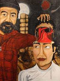 """A portrait of curator Jose Vargas and artist Samuel Torres, done by Torres as a tribute to Vargas. The painting is part of the """"El Corazon"""" (accent on the second o) exhibit at the Bath House Cultural Center, Feb. 1-March 1, 2014."""
