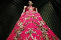 Details of a dress from Oscar de la Renta's fall 2013 collectionBen Torres  -  Special Contributor