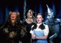 Bert Lahr as the Cowardly Lion, Ray Bolger as the Scarecrow, Judy Garland as Dorothy, and Jack Haley as the Tin Woodman, star in The Wizard of Oz, which will be shown at the USA Film Festival's 29th annual KidFilm Festival at the Angelika in Dallas.