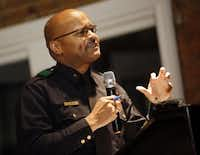 Deputy Chief John Lawton of the Dallas Police Department speaks during a public meeting at The Woolworth restaurant Monday, January 25, 2016 in Dallas. Officials from DPD and community leaders discussed crime and related issues with businesses owners and citizens who live in the downtown area. (G.J. McCarthy/The Dallas Morning News)
