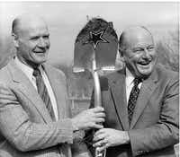 Former Dallas coach Tom Landry (left) with former Cowboy general manager Tex Schramm during a 1983 ground breaking ceremony for the Cowboys new practice facility in Valley Ranch.