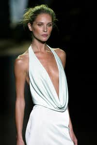 Erin Wasson in the Luca Luca Spring 2004 fashion collection showing in New York City.
