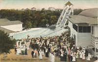 An old postcard of Lake Cliff Park shows residents gathered at the amusement park.Courtesy of the OLD OAK CLIFF CONSERVATION LEAGUE
