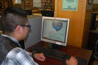 Eric Lopez often works on the program before school in the library. The bulk of NASA's High School Aerospace Scholars program is online distance-learning, but a few students will be chosen to attend a Summer workshop at Johnson Space Center.Staff photo by ANANDA BOARDMAN